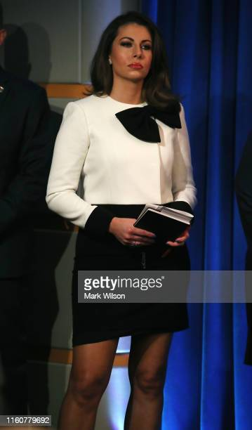 S State Department Spokesperson Morgan Ortagus attends a news conference where Secretary of State Mike Pompeo announced the formation of a commission...