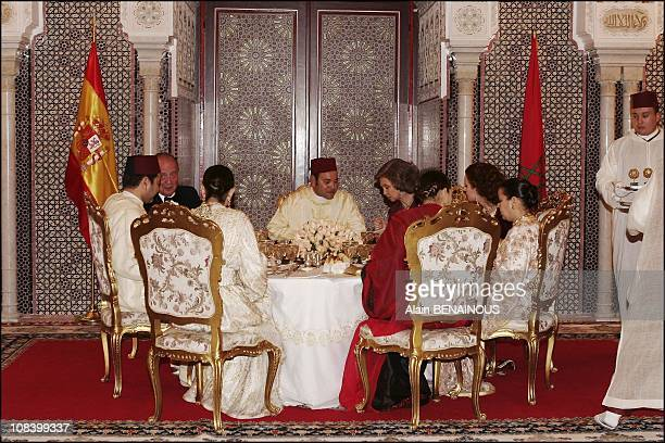 State dinner at the palace for king Juan Carlos and Queen Sofia of Spain in Marrakech Morocco on January 17 2005