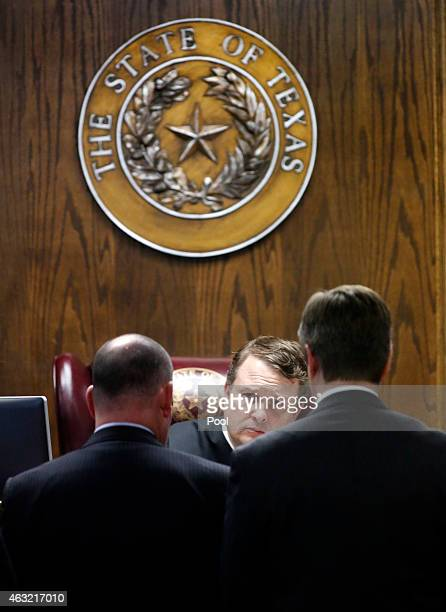 State District Judge Jason Cashon listens to arguments from Erath County District Attorney Alan Nash and court appointed defense attorney R Shay...
