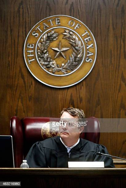 State District Judge Jason Cashon listens to testimony by Taya Kyle wife of slain Navy SEAL Chris Kyle during the capital murder trial of former...