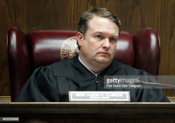 State District Judge Jason Cashon sits on the bench during the capital murder trial of former Marine Cpl Eddie Ray Routh at the Erath County Donald R...