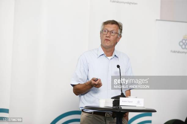 State epidemiologist Anders Tegnell of the Swedish Public Health Agency speaks during a press conference on the situation amidst the novel...