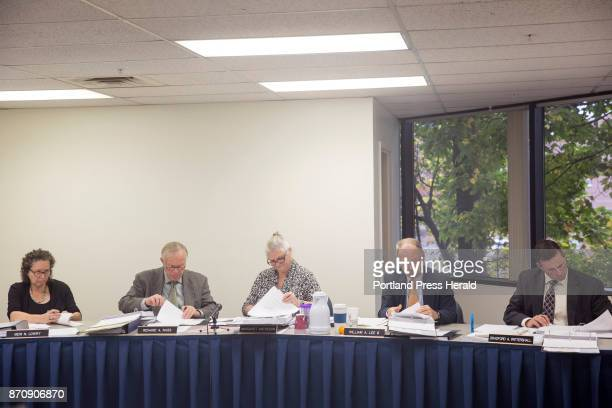 State ethics commissioners, from left, Meri Lowry, Richard Nass, Chair Margaret Matheson, William Lee III, and Bradford Pattershall deliberate the...