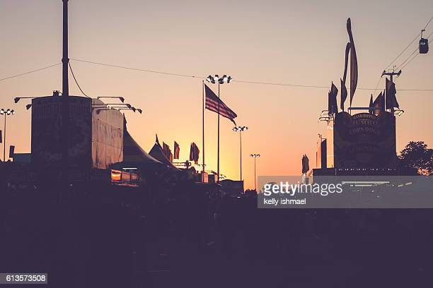 state fair at sunset - tulsa stock pictures, royalty-free photos & images