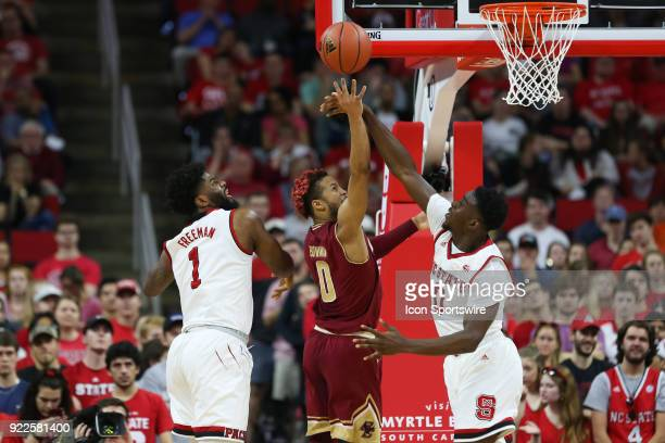 State forward AbdulMalik Abu blocks the shot of Boston College guard Ky Bowman during the game between the Boston College Eagles and the NC State...