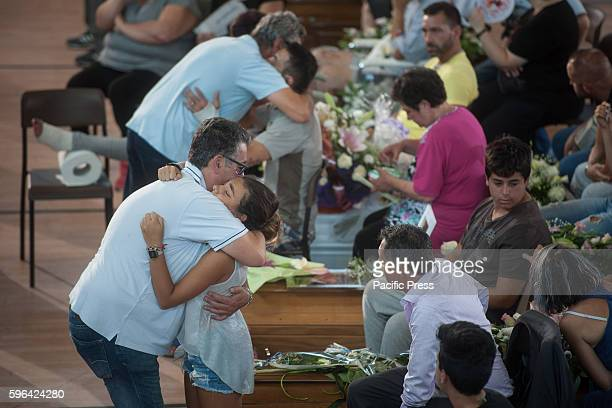 State Funerals at the municipal gym in Via degli Iris of Monticelli in Ascoli Piceno district the victims of the earthquake of 24 August 2016 50...