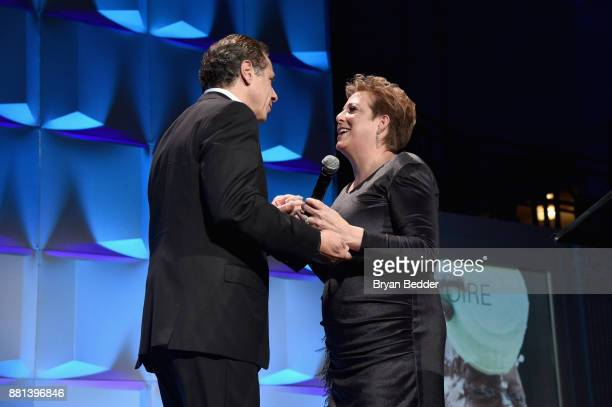 State Governor Andrew Cuomo and CEO President UNICEF USA Caryl M Stern speak onstage during the 13th Annual UNICEF Snowflake Ball 2017 at Cipriani...