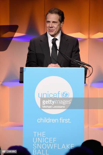 State Governor Andrew Cuomo speaks onstage during the 13th Annual UNICEF Snowflake Ball 2017 at Cipriani Wall Street on November 28 2017 in New York...