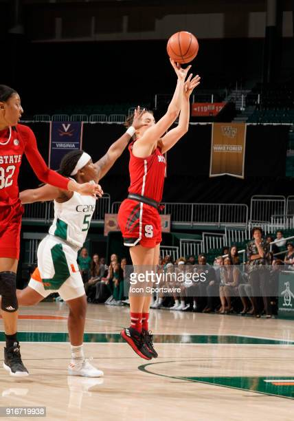 State guard Aislinn Konig shoots during a women's college basketball game between the NC State University Wolfpack and the University of Miami...