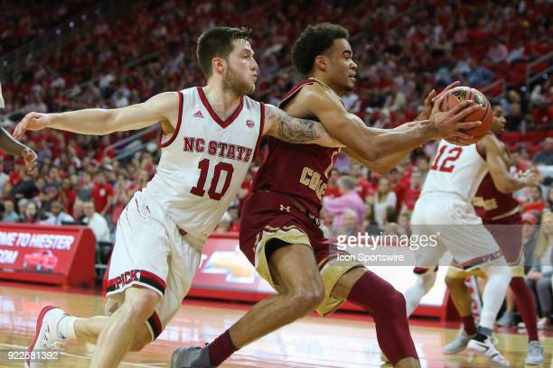 State guard Braxton Beverly attempts to steal the ball during the game between the Boston College Eagles and the NC State Wolfpack at PNC Arena on...