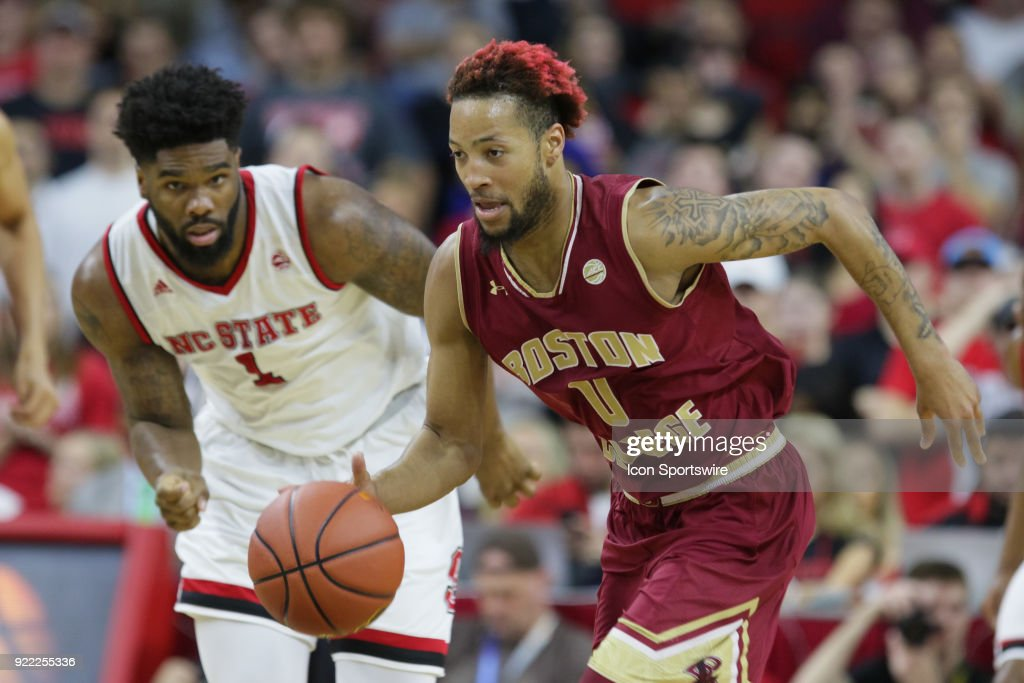 NC State guard Ky Bowman (0) leads the fast break during the game between the Boston College Eagles and the NC State Wolfpack at PNC Arena on February 20, 2018 in Raleigh, NC. The Pack won 82-66.