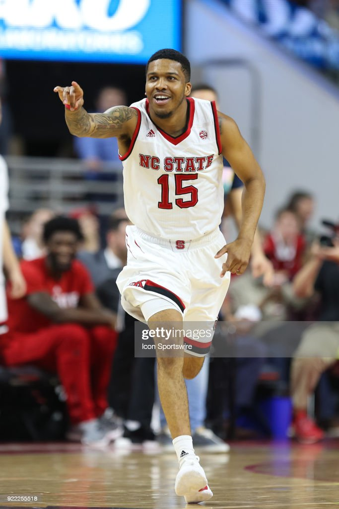 NC State guard Sam Hunt (15) celebrates a basket during the game between the Boston College Eagles and the NC State Wolfpack at PNC Arena on February 20, 2018 in Raleigh, NC. The Pack won 82-66.