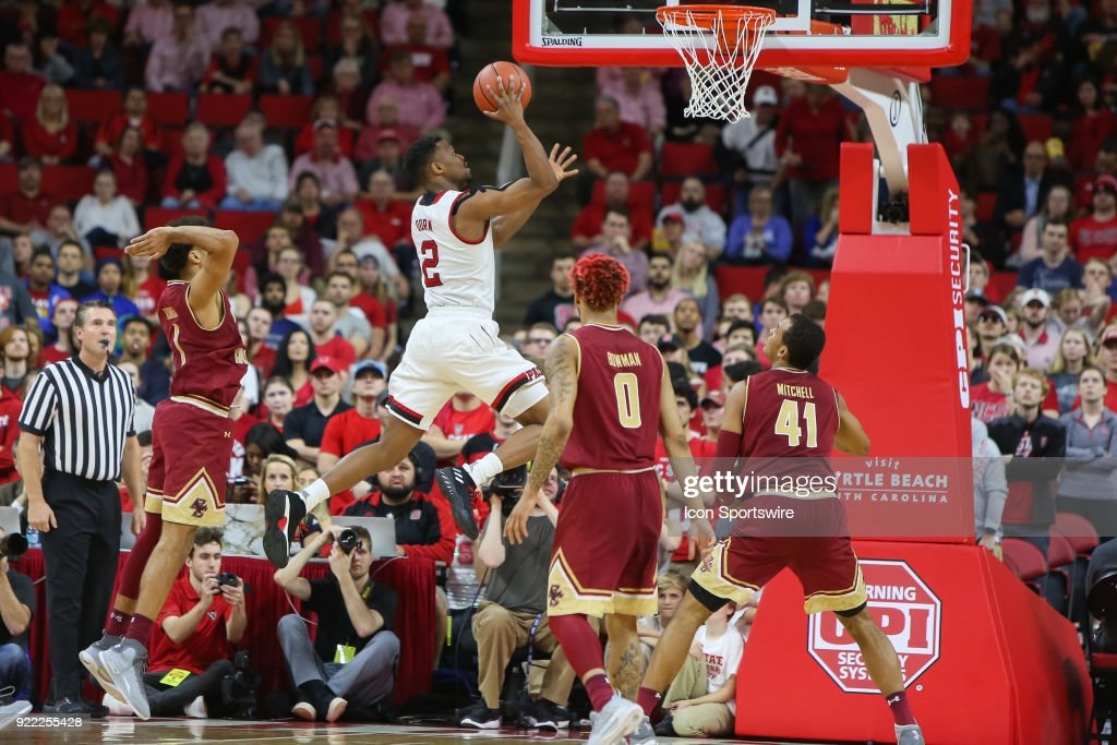 NC State guard Torin Dorn (2) makes a basket during the game between the Boston College Eagles and the NC State Wolfpack at PNC Arena on February 20, 2018 in Raleigh, NC. The Pack won 82-66.