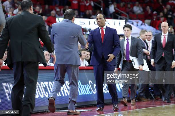 State head coach Kevin Keatts shakes hands with Notre Dame head coach Mike Brey at the end of the game The North Carolina State Wolfpack hosted the...