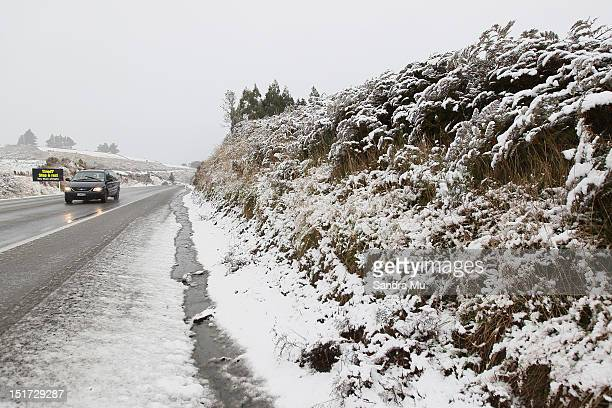 State Highway One leading into Dunedin where snow is falling in Dunedin due to a cold front hitting the lower South Island on September 11 2012 in...