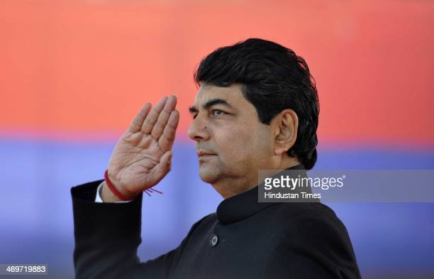 State Home Minister RPN Singh salutes and inspected the parade comprising contingents of the Anti Riot Armed Police Women Police Police Commandos...