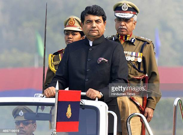 State Home Minister RPN Singh with Delhi Police commissioner Bhim Sain Bassi salute and inspected the parade comprising contingents of the Anti Riot...