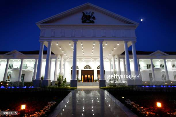 State house is lit up before the arrival of HRH Queen Elizabeth II on November 22 2007 in Entebbe Uganda The Queen will open the Commonwealth Heads...