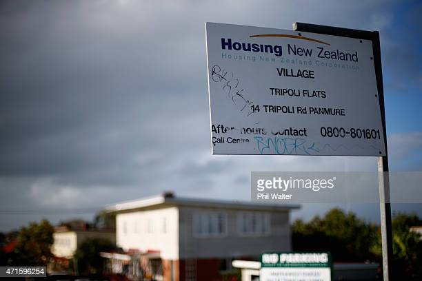 State housing is pictured in Panmure ahead of the New Zealand Budget release on April 30 2015 in Auckland New Zealand The Government today announced...