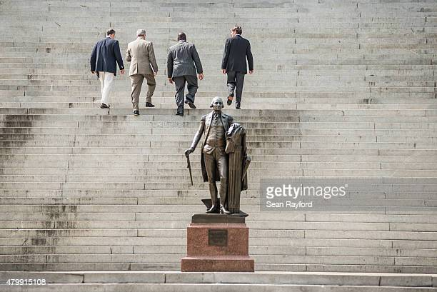 State lawmakers climb the steps at the South Carolina state house July 8 2015 in Columbia South Carolina South Carolina lawmakers will continue the...