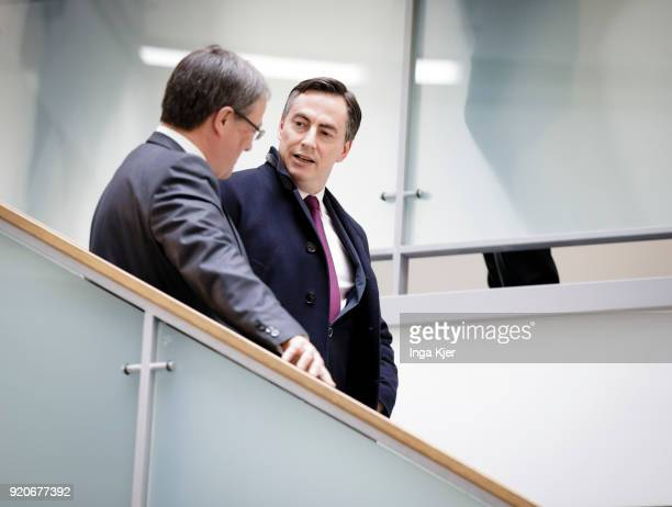 State Leader in North RhineWestphalia Armin Laschet and David McAllister on February 19 2018 in Berlin Germany