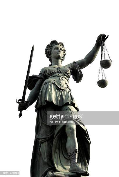 state of justitia symbolizing justice with scale and sword - lady justice stock pictures, royalty-free photos & images