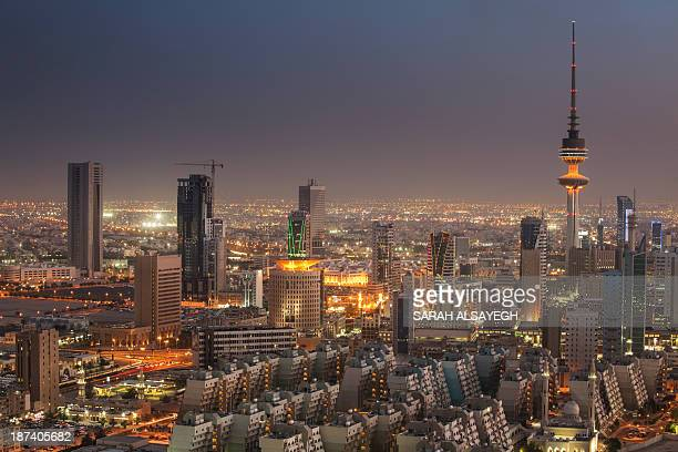 State of Kuwait - The Cityscape At Blue Hour - View Of Al Sawaber Area For More info or inquiry please visit my official website www.salsayegh.com or...