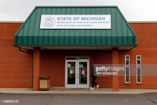 A State of Michigan Department of Health and Human Services office that is currently closed dot to Cover 19 in Detroit Michigan on March 26 2020 The...