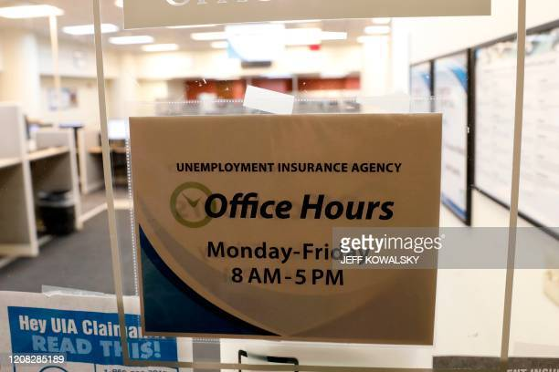 A State of Michigan Unemployment Agency office is seen in Cadillac Place that is currently closed because of coronavirus COVID19 in Detroit Michigan...