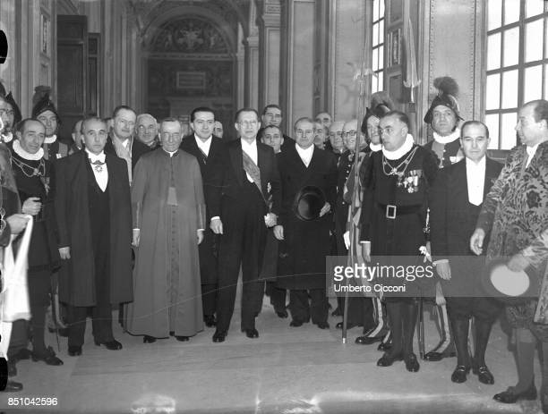 State of Vatican Rome February 11 1949 Prime Minister of Italy Alcide De Gasperi and Undersecretary of State Giulio Andreotti received at the Vatican...