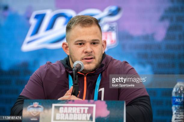 C State offensive lineman Garrett Bradbury answers questions from the media during the NFL Scouting Combine on February 28 2019 at the Indiana...