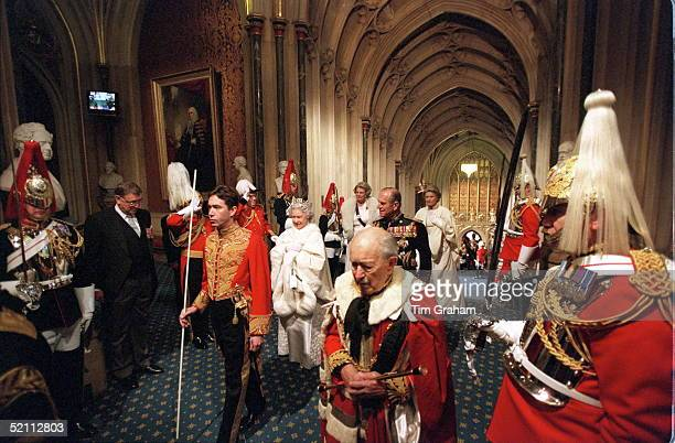 State Opening Of Parliament The Queen With Prince Philip And Her Ladies In Waiting Led By The Marquess Of Cholmondeley And The Duke Of Norfolk