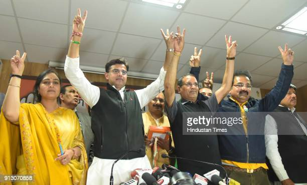 State Party President Sachin Pilot along with leader of opposition Rameshwar Dudy and other office bearers celebrate the win of party candidates in...