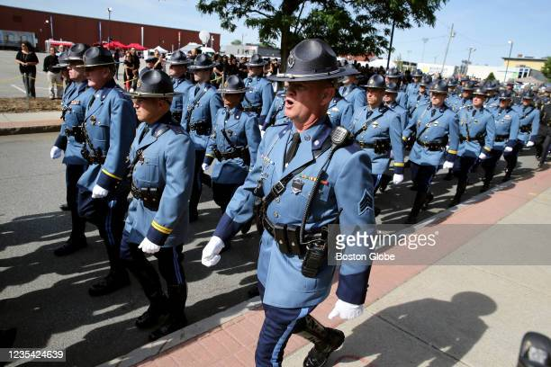 """State Police prepared for the funeral service for Worcester Police Officer Enmanuel """"Manny"""" Familia in Worcester, MA on June 10, 2021. Familia died..."""