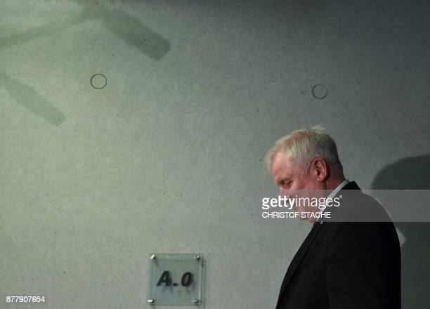 State Premier for the state of Bavaria and leader of the Christian Social Union party Horst Seehofer arrives for the CSU meeting at the party...