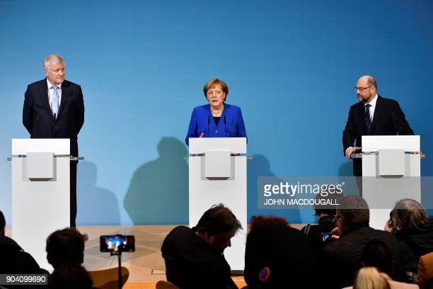 State Premier for the state of Bavaria and leader of the Christian Social Union Horst Seehofer German Chancellor Angela Merkel and leader of the...