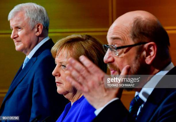 State Premier for the state of Bavaria and leader of the Christian Social Union Horst Seehofer German Chancellor Angela Merkel and the leader of the...