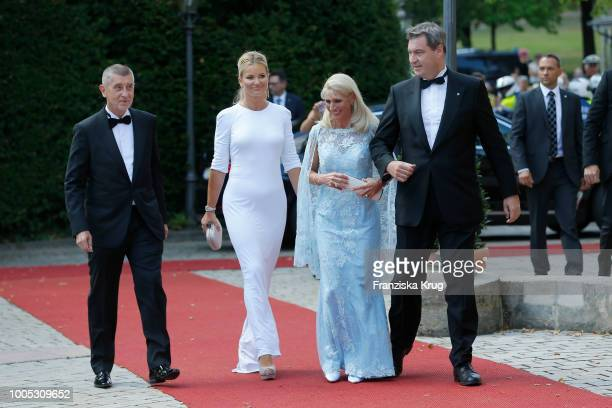 State Premier Markus Soeder next to his wife Karin Baumueller as they arrive with Czech Prime Minister Andrej Babis and his wife Monika Babisova...