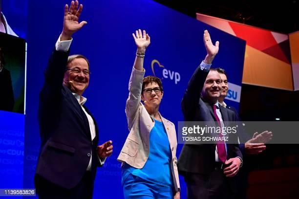 State Premier of North RhineWestphalia Armin Laschet leader of Germany's conservative Christian Democratic Union party Annegret KrampKarrenbauer...
