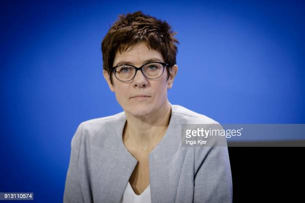 State Premier of Saarland Annegret KrampKarrenbauer gives a press conference after a meeting with regional state leaders as part of regular...