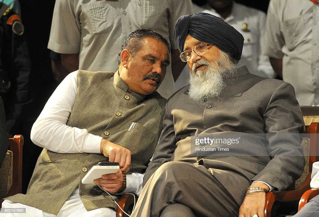 State President BJP Punjab Vijay Sampla and Punjab CM Parkash Singh Badal during the birthday celebration of Balram Ji Dass Tandon at Tagore Theatre..