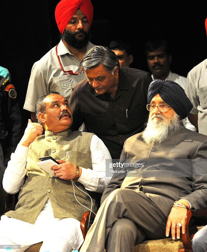 State President BJP Punjab Vijay Sampla Punjab CM Parkash Singh Badal and Manoranjan Kalia during the birthday celebration of Balram Ji Dass Tandon...