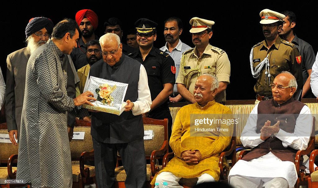 State President BJP Punjab Vijay Sampla Punjab CM Parkash Singh Badal Governor of Chhattisgarh Balram Ji Dass Tandon RSS Chief Mohan Bhagwat Haryana..