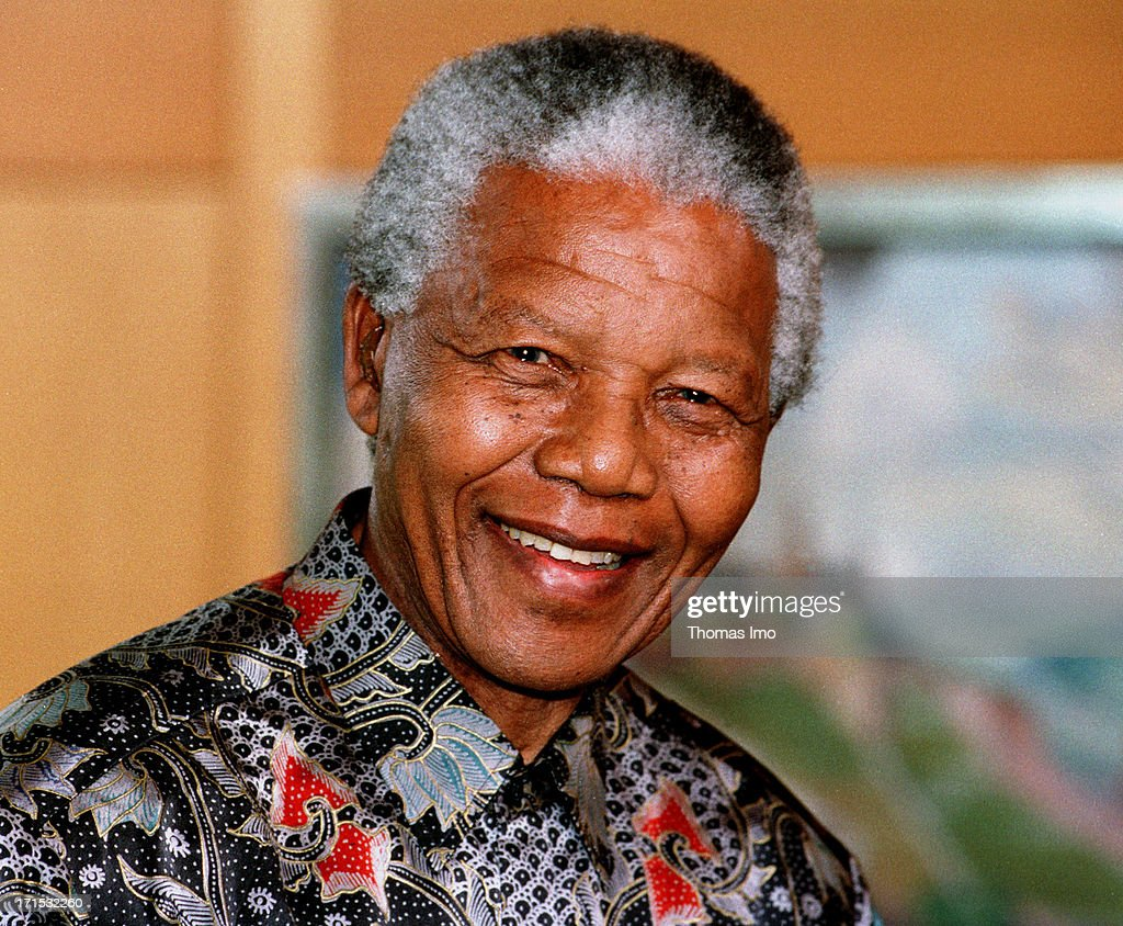 State President of South Africa Nelson Mandela smiles on May 22, 1996, Bonn, Germany.
