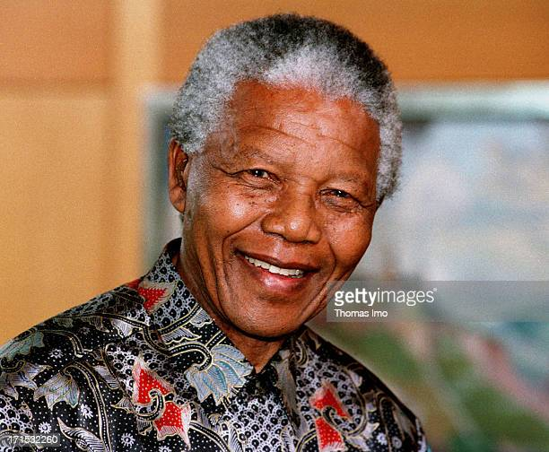 State President of South Africa Nelson Mandela smiles on May 22 Bonn Germany