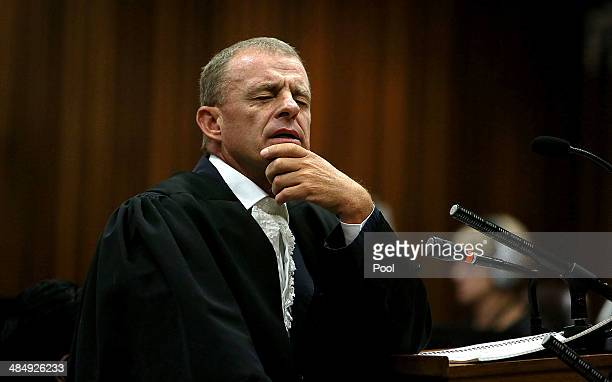 State prosecutor Gerrie Nel questions Oscar Pistorius during cross examination in the Pretoria High Court on April 15 in Pretoria, South Africa....