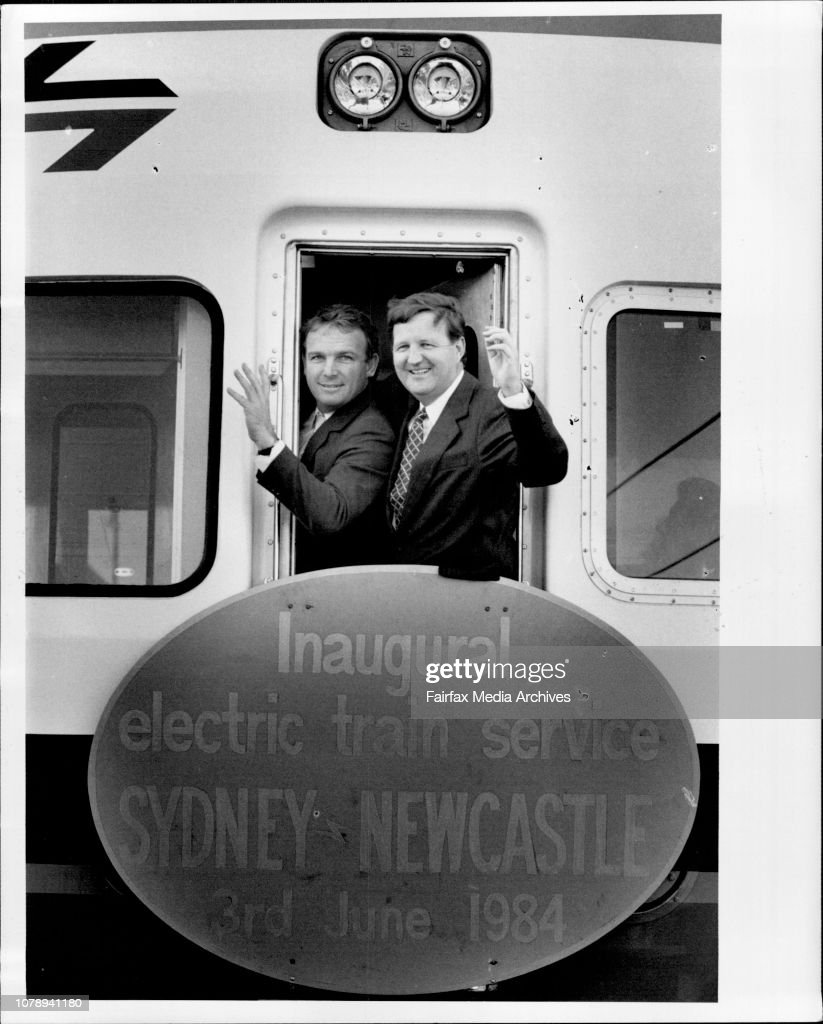 State Rail Authority Chief David Hill and minister for transport Mr. Barry ***** unsworth at the Departure of the Inaugural Electric Train service to Newscastle the train left from platform 9 central station at 12.15pm. : News Photo