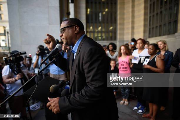 State Rep Ed Gainey speaks during a protest calling for justice for Antwon Rose II on June 26 2018 in downtown Pittsburgh Pennsylvania Rose was...