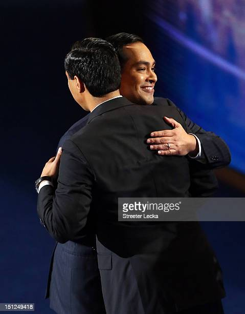 State Rep Joaquin Castro greets his brother San Antonio Mayor Julian Castro during day one of the Democratic National Convention at Time Warner Cable...