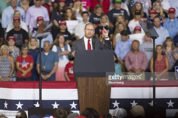 State Representative Greg Murphy a Republican from North Carolina speaks during a rally with US President Donald Trump not pictured in Greenville...